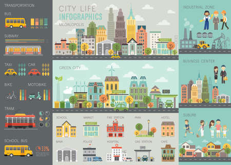 Ilustración de City life Infographic set with charts and other elements. - Imagen libre de derechos