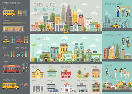 Illustration pour City life Infographic set with charts and other elements. - image libre de droit