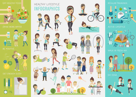 Photo for Healthy lifestyle infographic set with charts and other elements. - Royalty Free Image