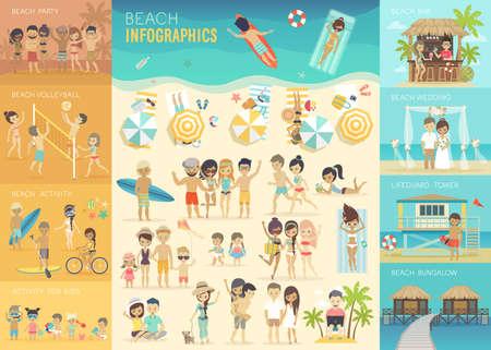 Illustration pour Beach Infographic set with charts and other elements. - image libre de droit