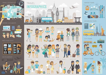 Ilustración de Travel Infographic set with charts and other elements. - Imagen libre de derechos
