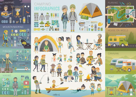 Illustration pour Camping Infographic set with people and objects. Vector illustration. - image libre de droit