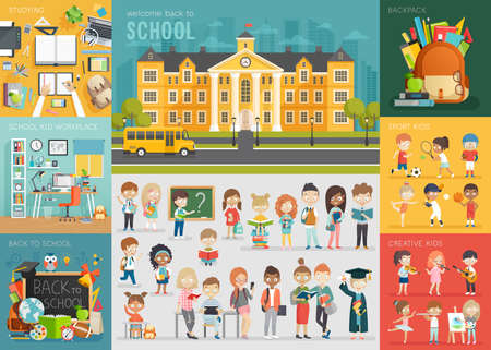 Photo pour School theme set. Back to school, workplace, school kids and other elements. Vector illustration. - image libre de droit