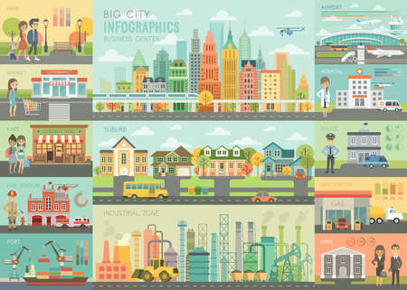 Ilustración de City life Infographic set with charts and other elements. Vector illustration. - Imagen libre de derechos