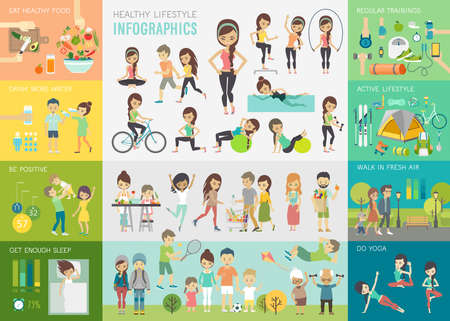 Foto de Healthy lifestyle infographic set with charts and other elements.Vector illustration. - Imagen libre de derechos
