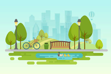 Illustration pour City park Urban outdoor decor, elements parks and alleys Vector illustration. - image libre de droit