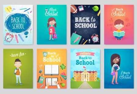 Illustration pour Back to School card set, school kids, chalkboards, equipment. Vector illustration. - image libre de droit