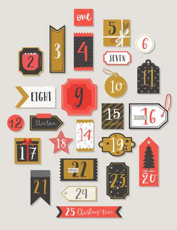 Illustration pour Christmas advent calendar, hand drawn style. Vector illustration. - image libre de droit