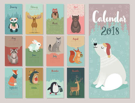 Illustration pour Calendar 2018. Cute monthly calendar with forest animals. - image libre de droit