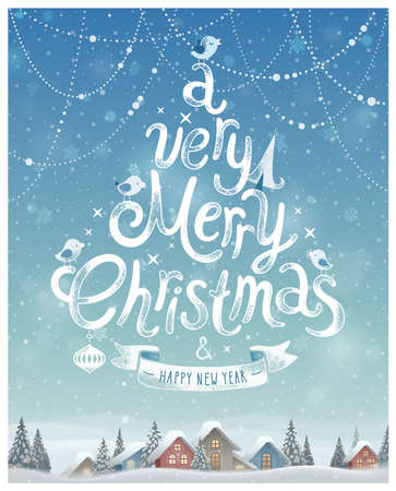 Illustration pour A very merry Christmas Poster Vector illustration. - image libre de droit