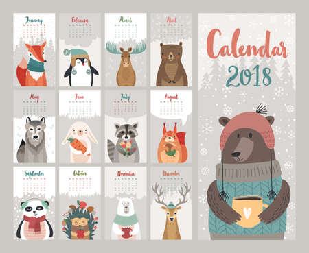 Illustration pour Calendar 2018. Cute monthly calendar with forest animals. Vector illustration. - image libre de droit