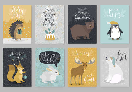 Illustration pour Christmas animals card set, hand drawn style. Vector illustration. - image libre de droit