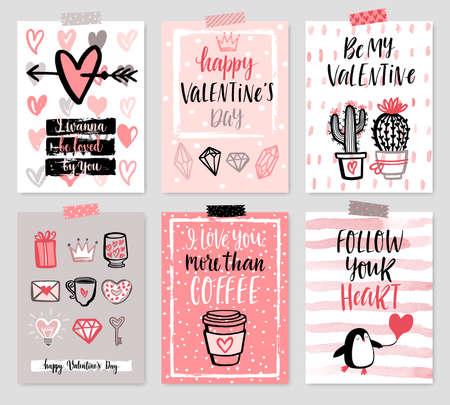 Ilustración de Valentine`s Day card set - hand drawn style with calligraphy. Vector illustration. - Imagen libre de derechos