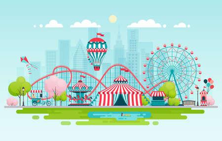 Illustration pour Amusement park, urban landscape. Vector illustration. - image libre de droit