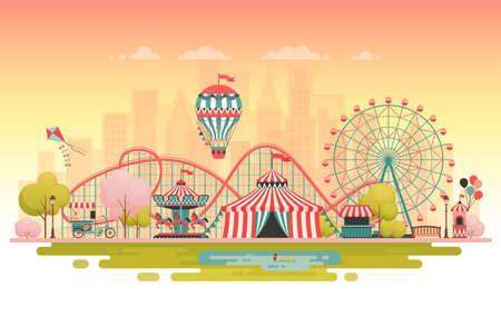 Illustration for Amusement park, urban landscape. Vector illustration. - Royalty Free Image