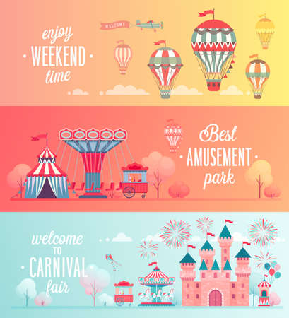 Illustration for Set of Amusement park landscape banners with carousels, roller coaster and air balloon. Circus, Fun fair and Carnival theme vector illustration. - Royalty Free Image