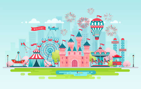 Illustration for Amusement park landscape banner with carousels, roller coaster and air balloon. Circus, Fun fair and Carnival theme vector illustration. - Royalty Free Image
