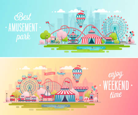 Illustration for Amusement park landscape banners with carousels, roller coaster and air balloon. Circus, Fun fair and Carnival theme vector illustration. - Royalty Free Image