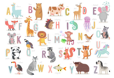 Illustration pour Cute Animals alphabet for kids education. Funny hand drawn style characters. Vector illustration. - image libre de droit