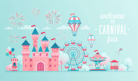 Illustration for Amusement park landscape banners with castle, carousels and air balloon. Circus, Fun fair and Carnival theme vector illustration. - Royalty Free Image