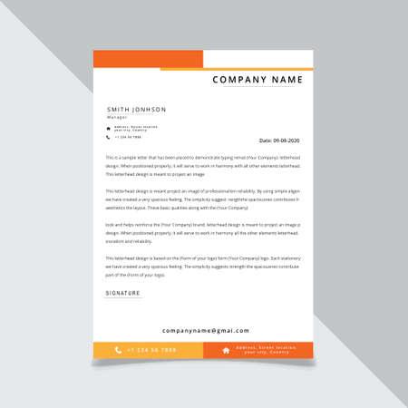Illustration pour yellow orange corporate Letterhead template design vector illustration - image libre de droit