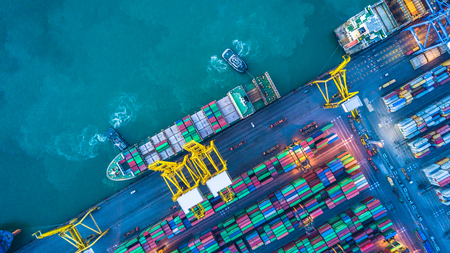 Foto per Aerial view of container cargo ship - Immagine Royalty Free