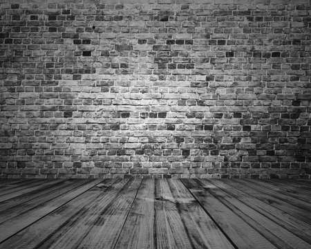 Foto de old room with brick wall, grey vintage background - Imagen libre de derechos