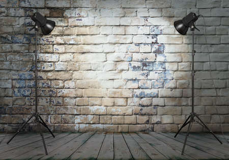 Photo for photo studio in old room with brick wall  - Royalty Free Image