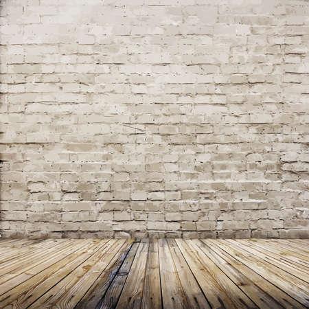 Ilustración de old interior with brick wall - Imagen libre de derechos