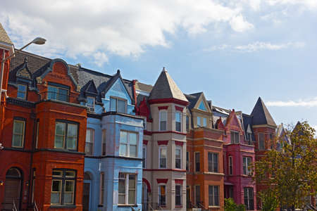 Photo for Red brick row houses in Washington DC, USA. Historic urban architecture of Mount Vernon Square in US capital. - Royalty Free Image