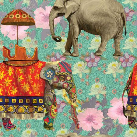 Illustration pour Seamless pattern with indian elephants. Hand drawn vector. - image libre de droit
