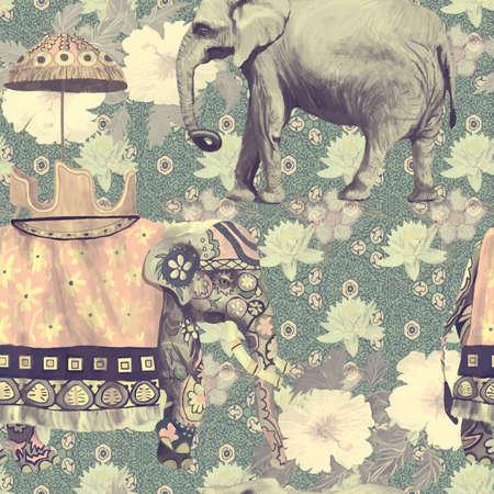 Illustration pour Vintage style seamless pattern with indian elephants. Hand drawn vector. - image libre de droit