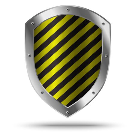 Illustration for Classic metal shield with yellow pattern. Hazard symbol. - Royalty Free Image