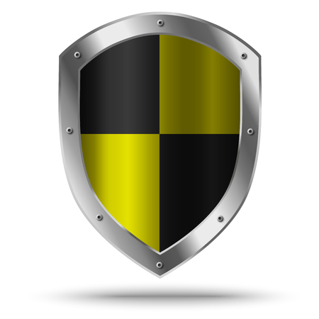 Illustration for Silver shield with yellow chessboard pattern. Hazard symbol. - Royalty Free Image