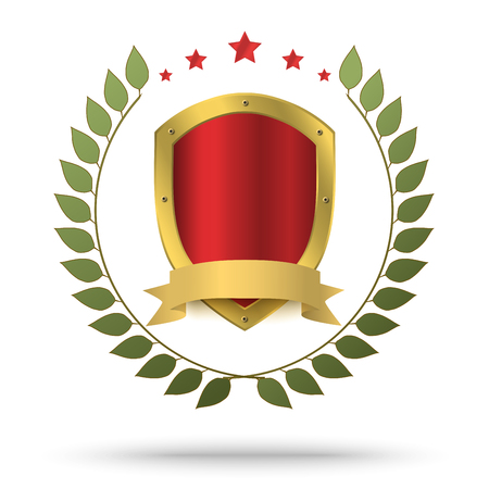 Illustration for Gold metal shield in green wreath and red stars above. Protection or victor's symbol. - Royalty Free Image