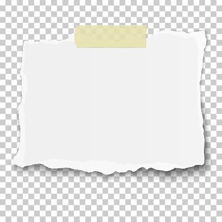 Ilustración de Vector ragged piece of white paper on sticky adhesive tape placed transparent checkered background - Imagen libre de derechos