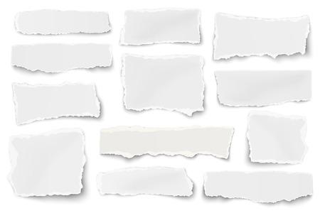 Ilustración de Set of paper different shapes scraps isolated on white background - Imagen libre de derechos