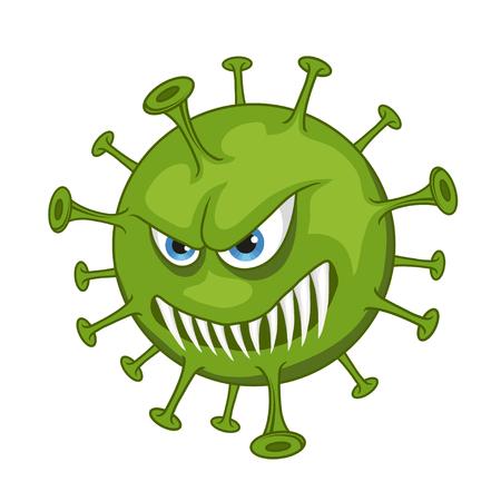 Illustrazione per Cartoon virus. Funny micro Virus. Cartoon bacteria character. Vector virus character. - Immagini Royalty Free
