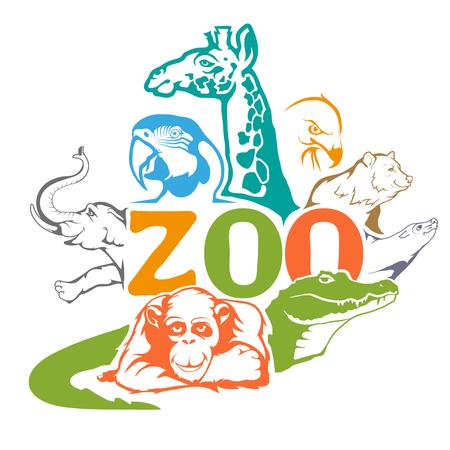 Illustration pour ZOO. Concept with zoo animals. - image libre de droit