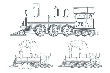 Illustration pour Set of Old train. Locomotive drawing. Steam transport. Vector graphics to design - image libre de droit