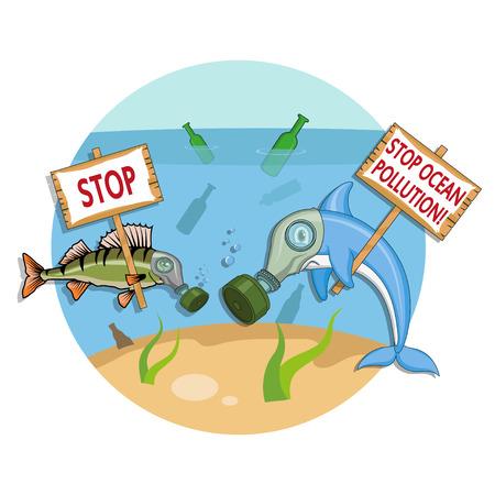 Ilustración de Ocean pollution concept. Dolphin in a gas mask asks to stop the pollution of the ocean. Vector graphics to design - Imagen libre de derechos