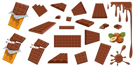 Illustration for Chocolate. Hazelnut. Milk chocolate. Sweetened block made from roasted and ground cacao seeds. Milk chocolate bar and pieces. Confectionery. Set of different foreshortening of chocolate products. - Royalty Free Image