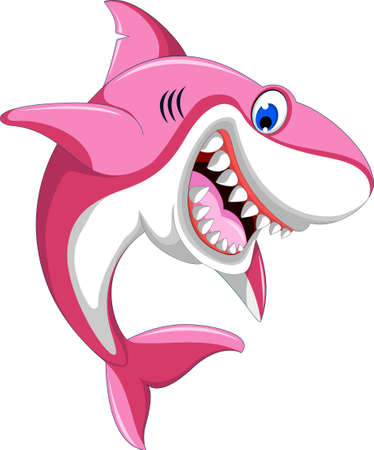 Ilustración de happy angry pink shark - Imagen libre de derechos
