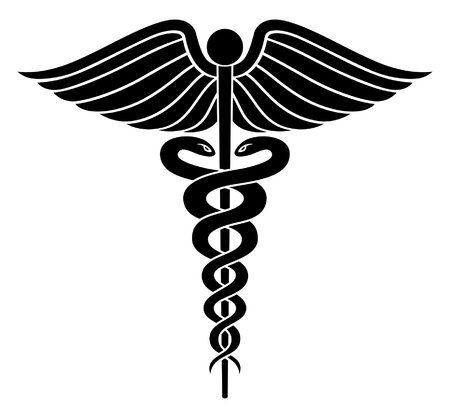 Caduceus Medical Symbol II is an illustration of a Caduceus medical symbol in black and white vector.