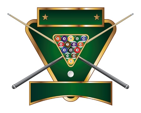 Pool or Billiards Emblem Design is an illustration of a pool or billiards design that includes a rack of pool or billiard balls and crossed sticks or cues