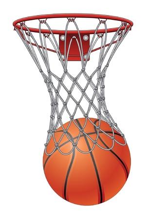 Ilustración de Basketball Through Net is an illustration of a basketball going through a basketball net to score  - Imagen libre de derechos