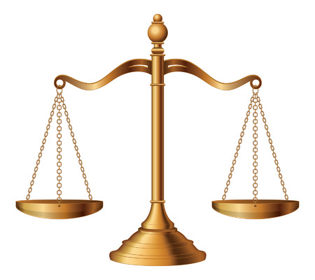 Illustration pour Scales of Justice is an illustration of the scales of justice symbolizing the measure of a case s support and opposition in a court of law  - image libre de droit