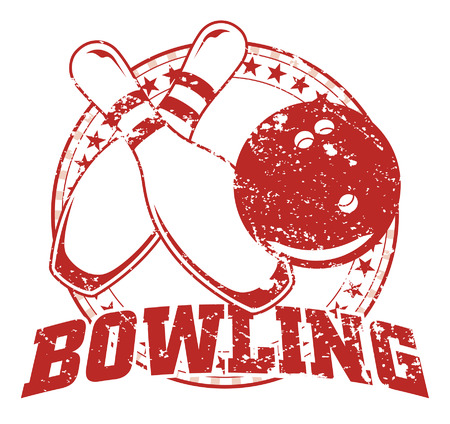 Bowling Design - Vintage is an illustration of a bowling design in vintage distressed style with a circle of stars. The distressed look is removable in the vector version of the art.