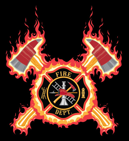 Illustration for Firefighter Cross With Axes and Flames is an illustration of a fire department or firefighter cross with the firefighters tools logo and crossed axes with flame or fire background. - Royalty Free Image