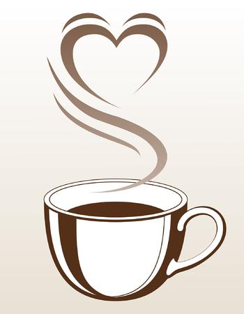 Ilustración de Coffee or Tea Cup With Steaming Heart Shape is an illustration with a cup of coffee or tea with steam coming off of it making the shape of a heart. - Imagen libre de derechos